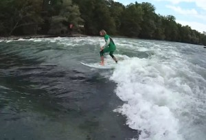 SUP river surfing in Switzerland
