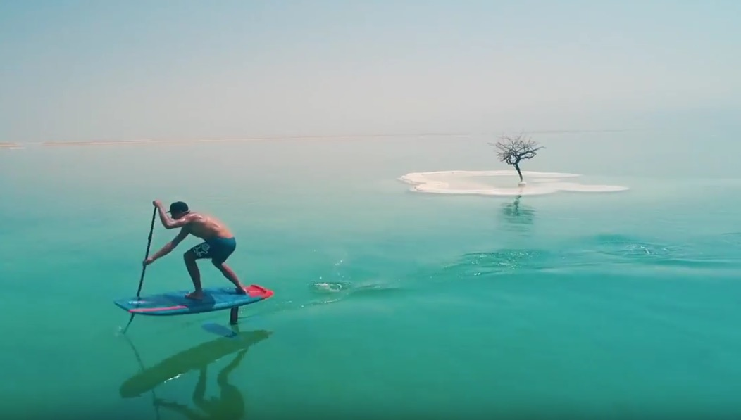 SUP foiling the Dead Sea